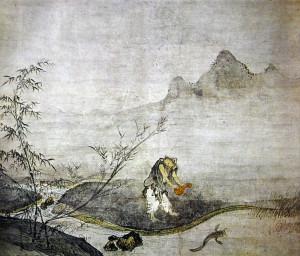 Известная картина в жанре суйбоку дзенского мастера Дзёсэцу (Josetsu  如拙), изображающая ловлю сома